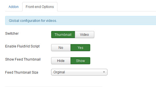 Global configuration for videos.