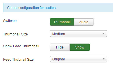 Global configuration for audios.