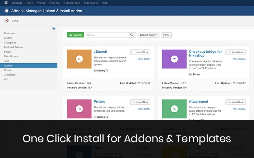 Install Addons and Templates by One-Click Install