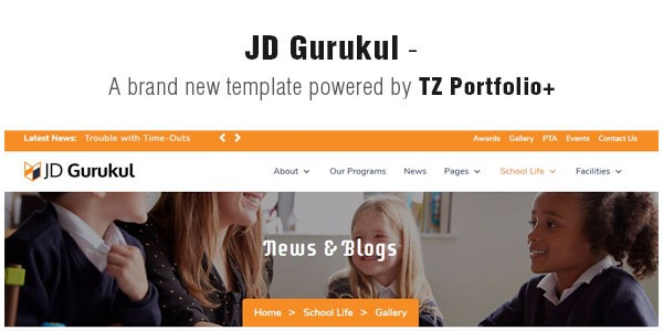 JD Gurukul - A brand new template powered by TZ Portfolio+